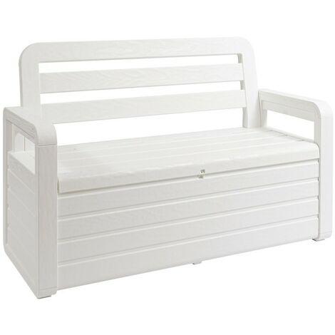 Coffre de Jardin 270L Blanc Effet bois TOOMAX 132 x 58 x H89 cm Resine Inaltérable Anti UV Haute résistance gel et intempéries