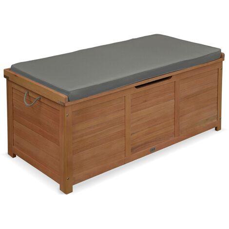 Coffre de jardin - CAJA gris - en bois 125x60cm rangement coussins avec vérin et poignées