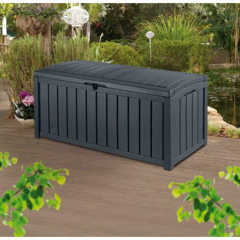 Coffre de jardin en résine GLENWOOD - 390L - Coloris gris
