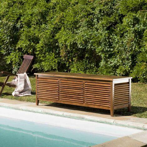 Coffre de jardin piscine en bois teck huilé 200x55cm - Marron