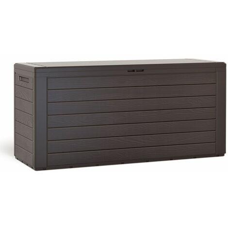 Coffre de rangement 300 L Aspect bois Poignées latérales Malle de rangement Jardin Terrasse Balcon Brun