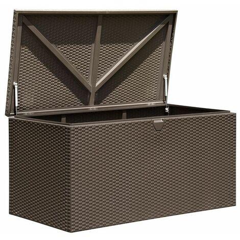COFFRE DE RANGEMENT 509 litres - Métal Couleur Expresso Dimensions extérieures 132 x 70 cm Dimensions intérieures 129 x 64 cm