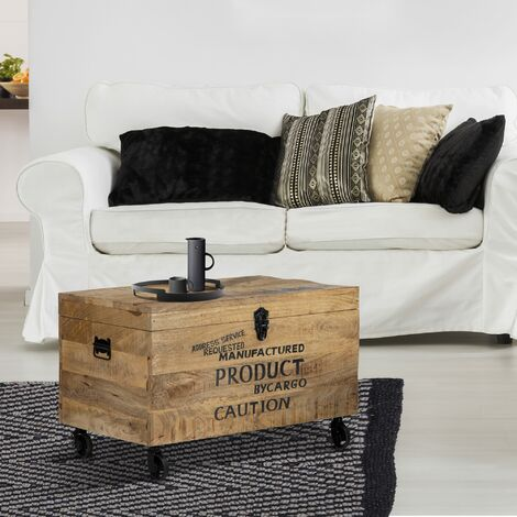 Coffre de rangement à roulettes industriel bois d'acacia métal brut WOMO-DESIGN®