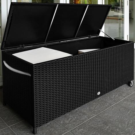 design intemporel 9b4d8 ee3aa Coffre de rangement à roulettes noir 117,5 x 55 x 64,5 cm ...