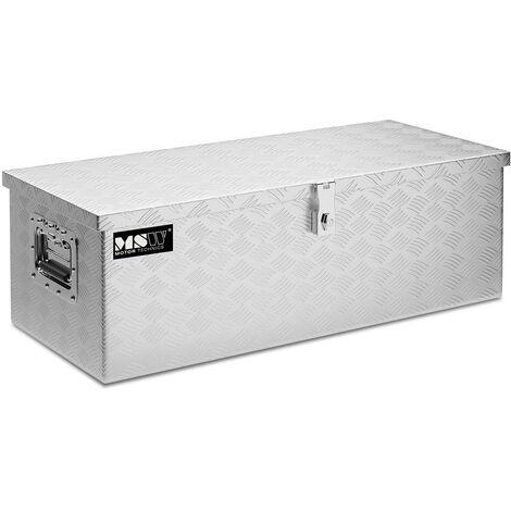 Coffre De Rangement Aluminium Damier Malle De Transport MSW 48L 76,5x33,5x24cm