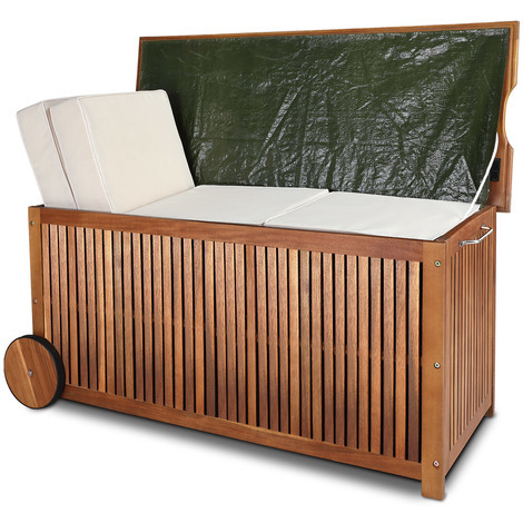 Coffre de rangement avec roues et poignée acier inoxydable 117 x 52 x 58,5 cm coussins housses jeux - bâche intérieure bois dur d'acacia