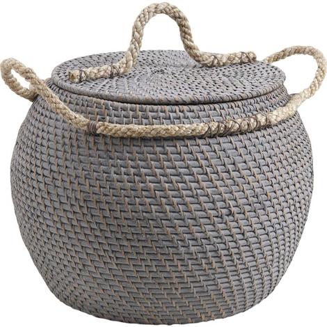 Coffre de rangement boule en rotin et corde - Dim : Ø 30-40-30 h 30-35 cm