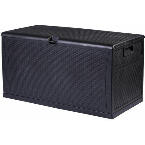 Coffre de Rangement D'extérieur Verrouillable et Imperméable Noir Coussins Jouet