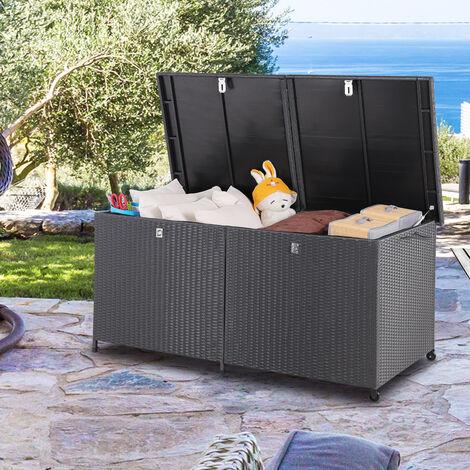 Coffre de rangement en polyrotin noir 150x77x73cm 2 roues et poignées malle de stockage 2 vérins