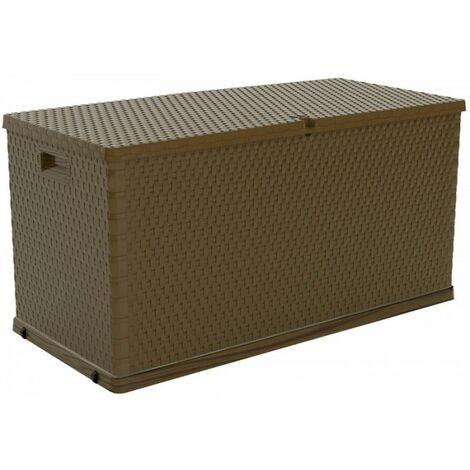 Coffre de rangement jardin 420 L Structure résine ROTIN 120xP57xH63 cm Résiste au gel, intempéries et UV.