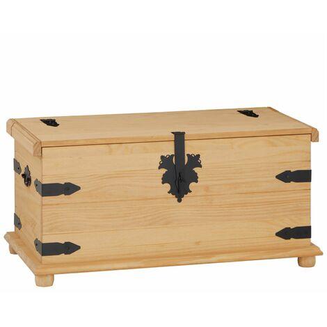 Coffre de rangement TEQUILA malle rectangulaire en bois style mexicain avec abattant, en pin massif finition teintée et cirée