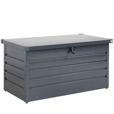 Coffre de rangement tôle d'acier anthracite 120x62x63cm verrouillable clé jardin