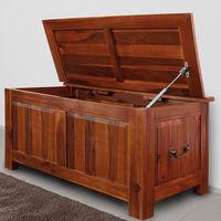 Coffre en bois massif - Style colonial - Malle boîte de rangement 85 cm