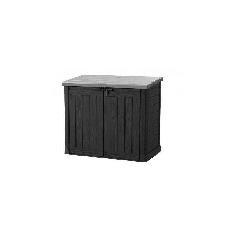 Coffre en résine de jardin multifonctions Noir & Gris - 1200L Toit plat SIO  MAX (avec vérins)