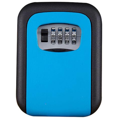 Coffre-fort à clé à 4 chiffres Coffret de rangement extérieur avec serrure à code fixé au mur de plus grande capacité bleu