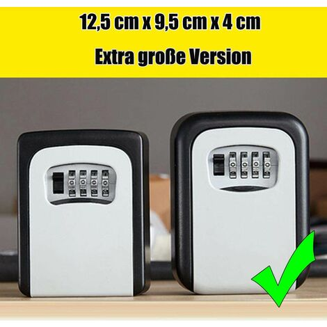 Coffre-fort à clé à 4 chiffres Coffret de rangement extérieur avec serrure à code, plus grande capacité, gris gris