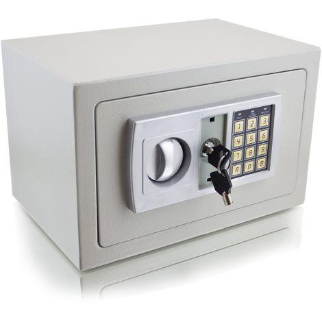 Coffre-fort à combinaison électronique + clés verrouillage Gris - Gris