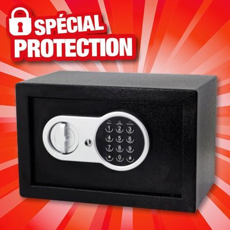 Coffre-fort à mur numérique et clés d'urgence Noir