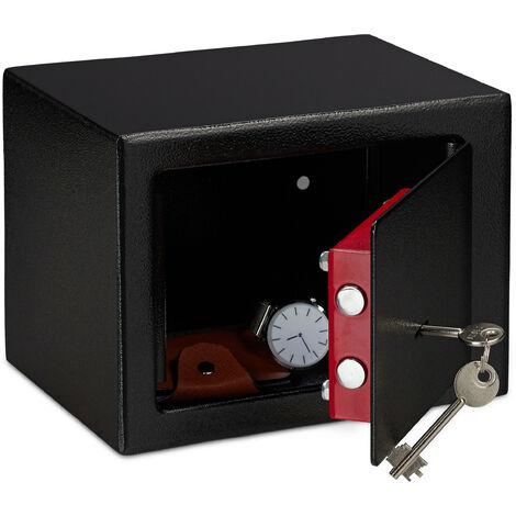 Coffre-fort avec clé, Panneton double, Fixation au mur ou au sol, petit coffre-fort, HLP: 17x23x17, noir