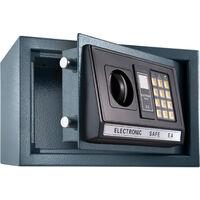 Coffre Fort Electronique de Sécurité en Acier + 2 Clés 20 cm x 31 cm x 22 cm Gris