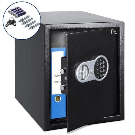 Coffre-fort électronique Safe 35x40x40cm piles clés boulons de fixation inclus sécurité fixation mur sol maison coffre-fort numérique hôtel domotique affichage LED