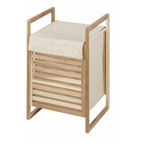Coffre Linge bois, Panier à linge bois avec sac à linge sale amovible, 56L, Bois FSC, Acina, 40x60x35 cm