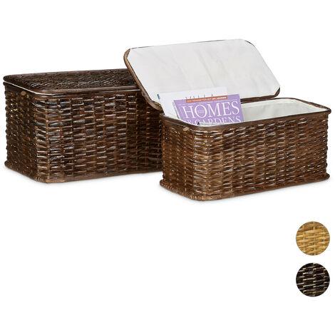 Coffre lot de 2 en rotin tressé capacité 28 L corbeille panier malle boîte rectangle empilable H l P: 26 x 50 x 29,5 cm doublure en tissu amovible respirant décoratif campagne, brun rouge
