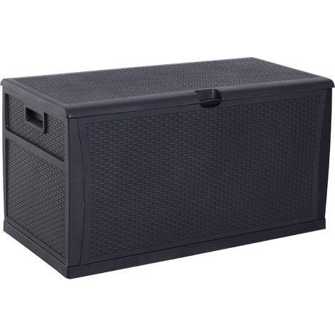 Coffre malle de rangement dim. 120L x 61l x 63H cm résine tressée imitation rotin noir