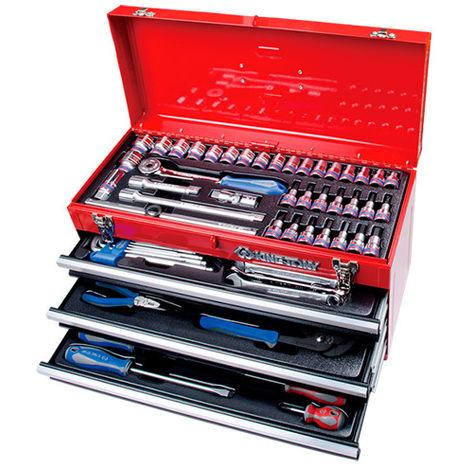 Coffre métallique transportable - 73 outils - 220 x 290 x 535 mm