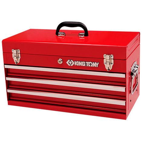 Coffre métallique transportable vide 3 tiroirs avec serrure - 220 x 287 x 535 mm