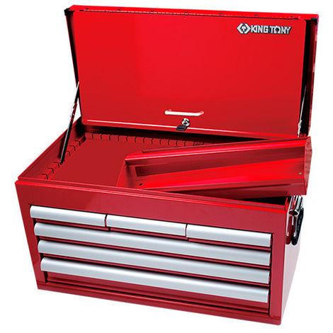 Coffre métallique transportable vide à 6 tiroirs sur roulement et bac - 307 x 374 x 660 mm