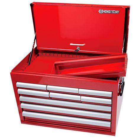 Coffre métallique transportable vide à 9 tiroirs sur roulement et bac - 307 x 427 x 660 mm