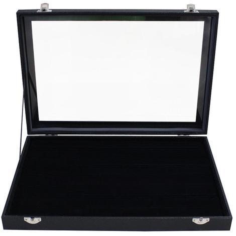 Coffre pour Bagues, Boite pour Bagues, Noir, 100 bagues et vitre, Dimensions: 35 x 24 x 4,5 cm