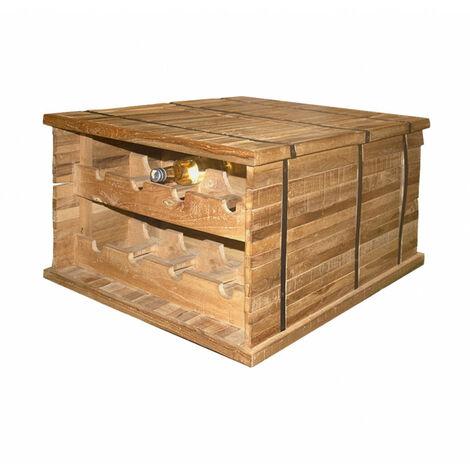 Coffre table basse porte bouteille en bois - SPARROW - bois