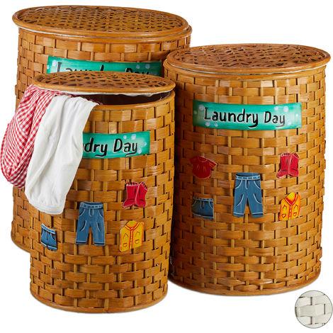 Coffres à linge bambou set de 3 corbeille à linge couvercle sac à linge tissu amovible, miel