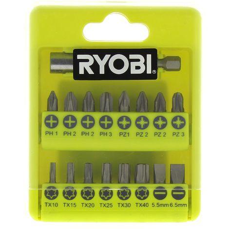 Coffret 17 embouts de vissage pour Perceuse Ryobi, Visseuse Ryobi, Perforateur Ryobi, Perceuse Hyundai, Perceuse Siplec, Perceuse Parkside, Visseuse P