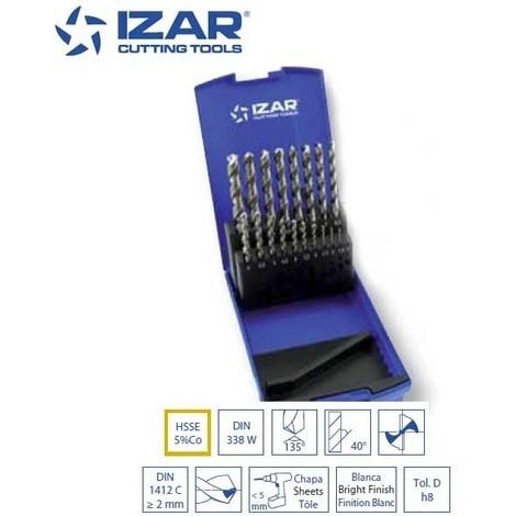coffret 19 forets HSSE-5%Co Izar pour inox de 1 à 10 mm par 0.5 mm