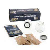 Coffret 2 germoirs verre avec 3 sachets de graines bio
