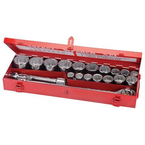 """Coffret 21 pièces de clés et douilles 3/4"""" métriques (poids lourds)"""