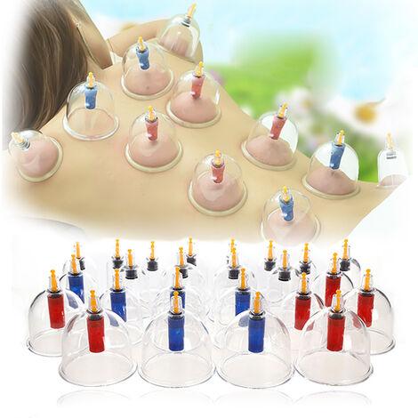 Coffret 24 Ventouses Ventouse Kit Outil Traditionnel Chinois Médical Vide Ventouses Corps Massage Sain