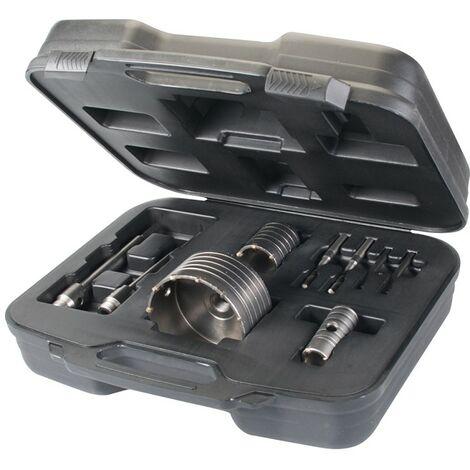 Coffret 3 scies trépans carbure de tungstène, 9 pcs 30, 50 et 110 mm