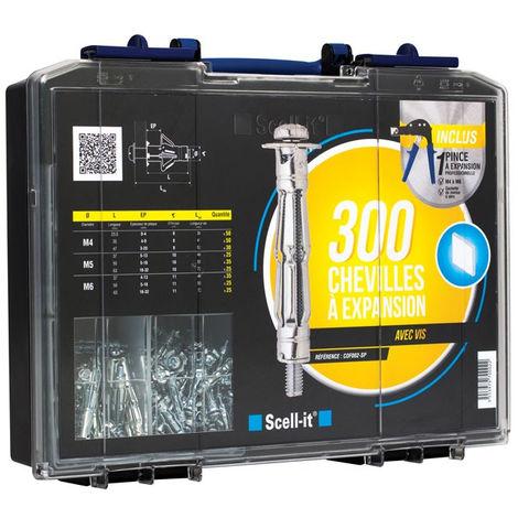 Coffret 300 chevilles à expansion SCELLIT - avec vis + pince à expansion - COF002-SP