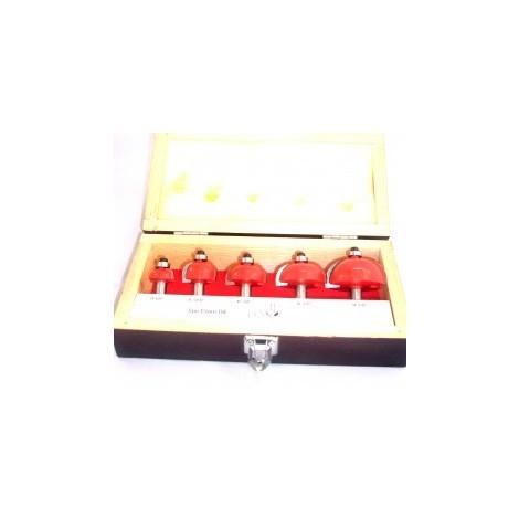 Coffret 5 fraises congé carbure defonceuse queue 8 mm