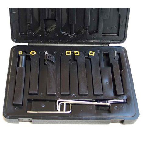 Coffret 7 outils de tournage métal 16 x 16 mm à plaquettes - HS-DM16 - Métalprofi - -