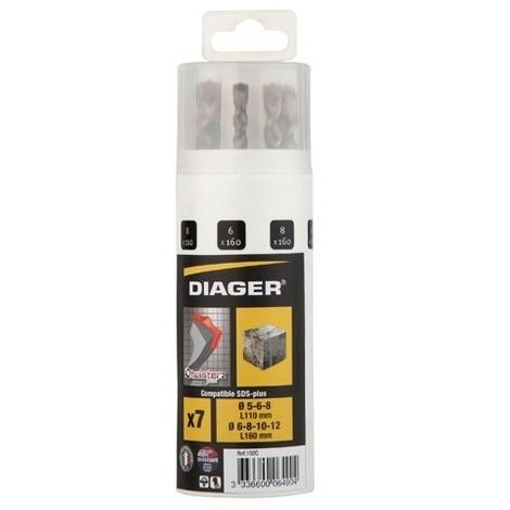 Coffret 7 pcs SDS+ 2 taillants D. 5, 6, 8 x L. 110mm et D. 6, 8, 10, 12 x L. 160 mm Twister-plus - 102C - Diager