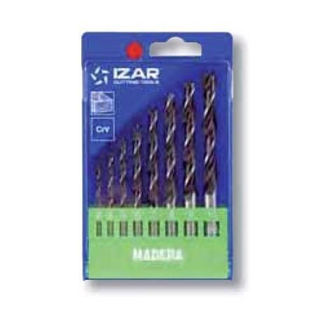 coffret 8 forets auto-centreur bois Izar acier CrV de 3 à 10mm