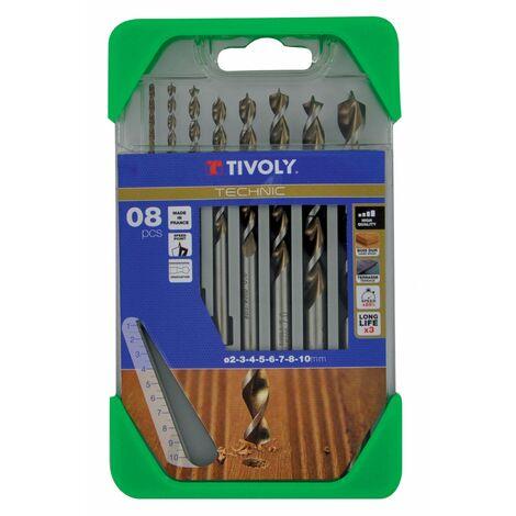 Coffret 8 forets technic bois, Diam.2-3-4-5-6-7-8-10 mm TIVOLY