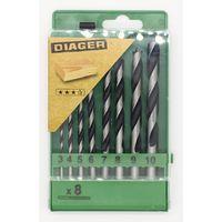Coffret 8 Mèches hélicoïdale bois 3 pointes PRO - DIAGER - 907C