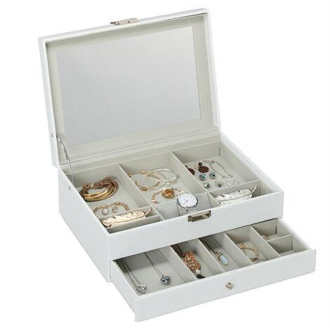 Coffret à bijoux, 2 niveaux, miroir, effet optique cuir, boucles d'oreilles, chaines, HlP 13x35x25cm, blanc