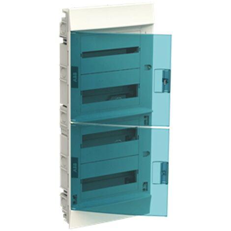 Coffret à encastrer blanc ABB 48 Modules IP40 porte blue petrol 4 fils